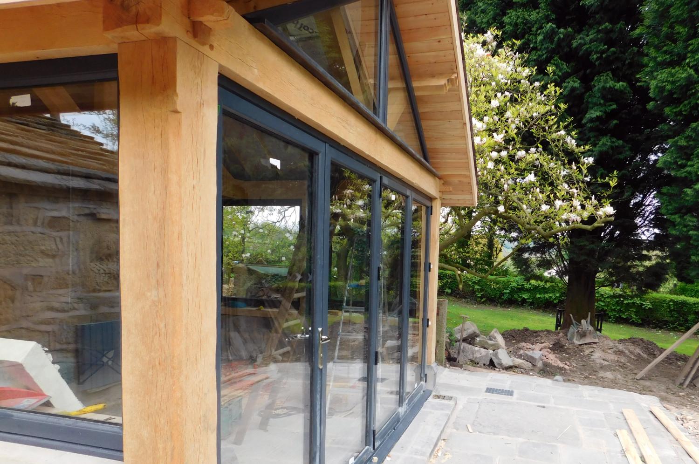 Extension Oak Frame Construction Slate Roof House