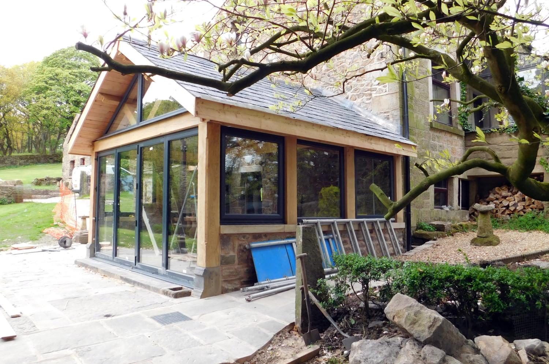 Extension, oak frame construction, slate roof, house renovation ...