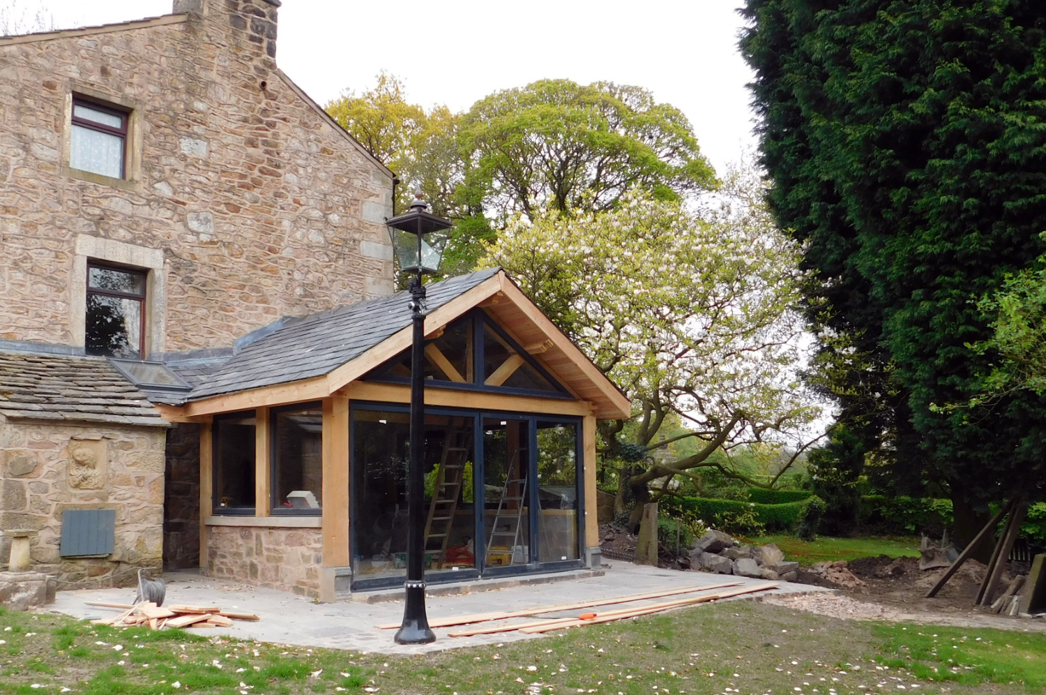 Extension, oak frame construction, slate roof, residential house, Frank Wood