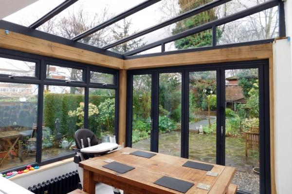 Kitchen extension, oak frame, conservatory style, modern interior, Bell Walker, Altrincham