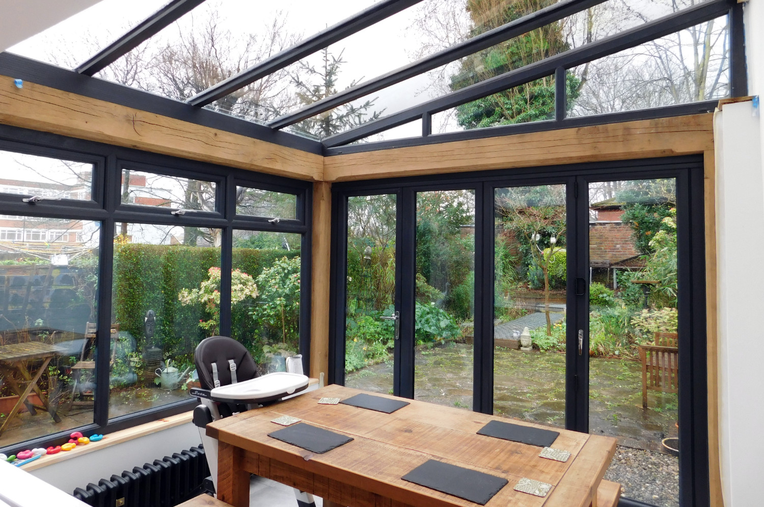 Kitchen extension, oak frame, conservatory style, modern interior, Bell Walker, Altrincham
