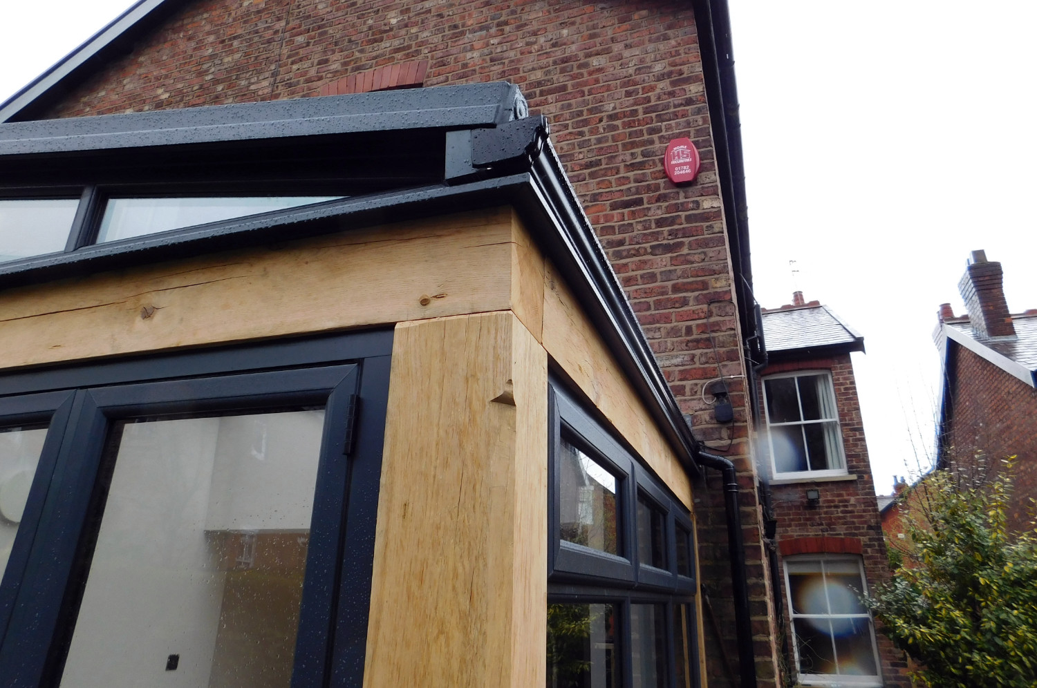 Kitchen extension, oak frame, conservatory style, modern interior fittings, Bell Walker, Altrincham, Trafford, Greater Manchester