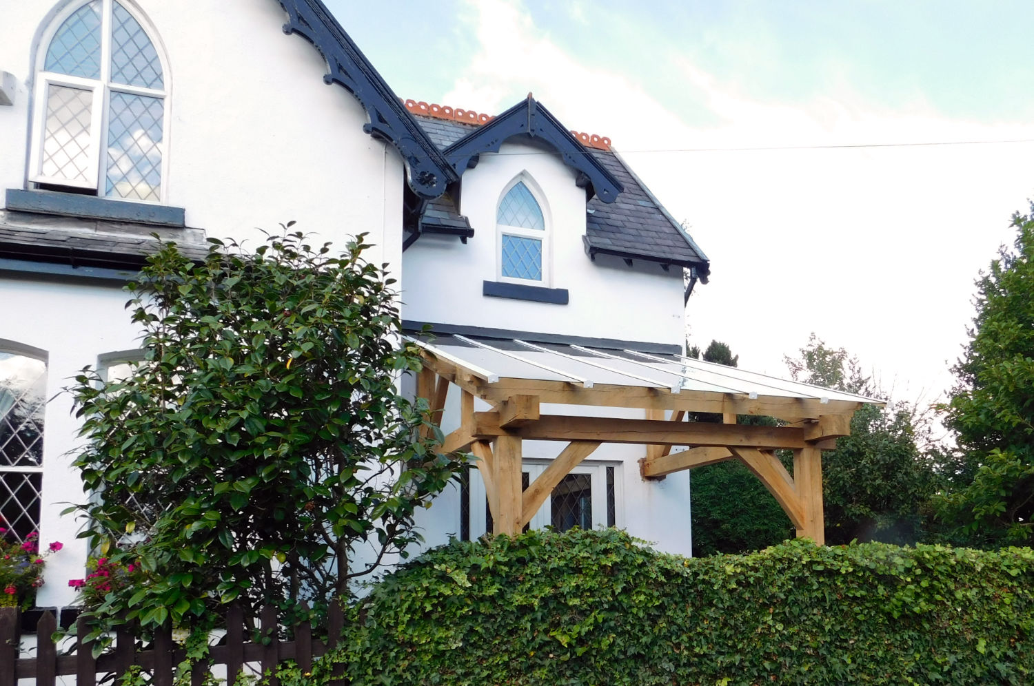 Porch, Oak Frame construction, home improvement for Pam and Shaun Meachim, Prestwich