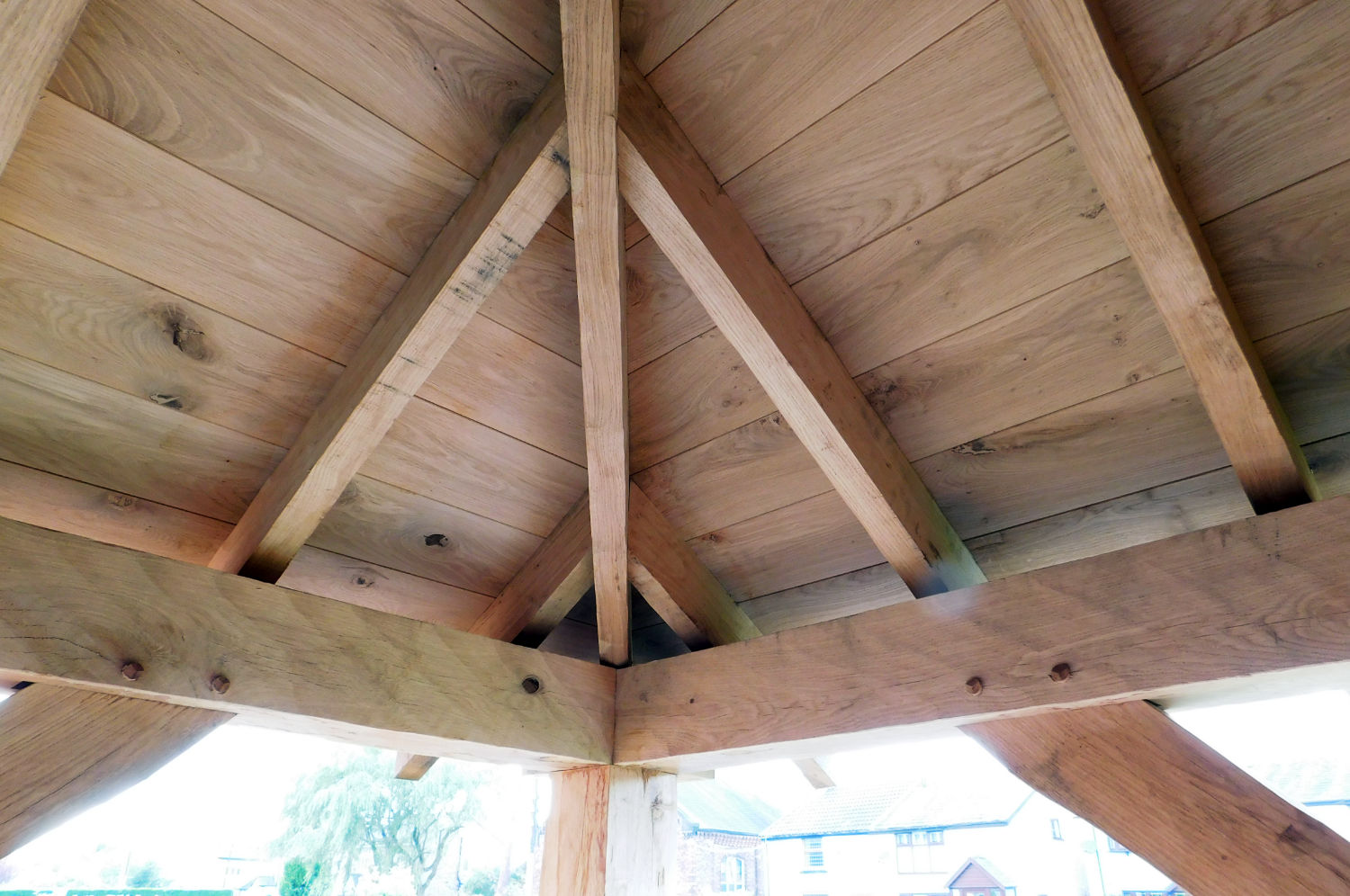 Traditional Oak Frame Corner Porch, roof with reclaimed Rosemary tiles and cast Iron rainwater fittings, Stan, Woodhouses