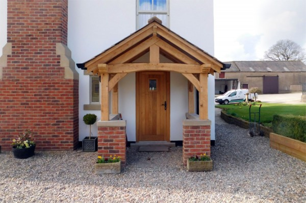 Oak Porch, slate roof, a-frame beams, brick and stone work, home improvement, Preston, Lancs, NW