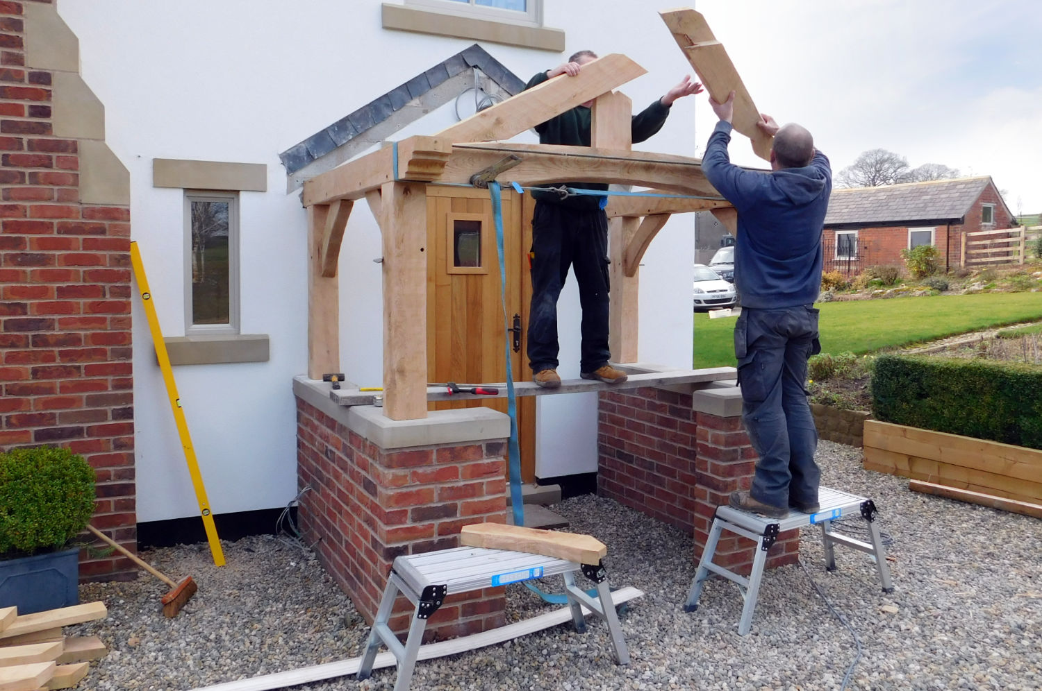 Oak Porch, slate roof, traditional hand made frame, beams, brick and stone work, home improvement, Preston, Lancs, NW