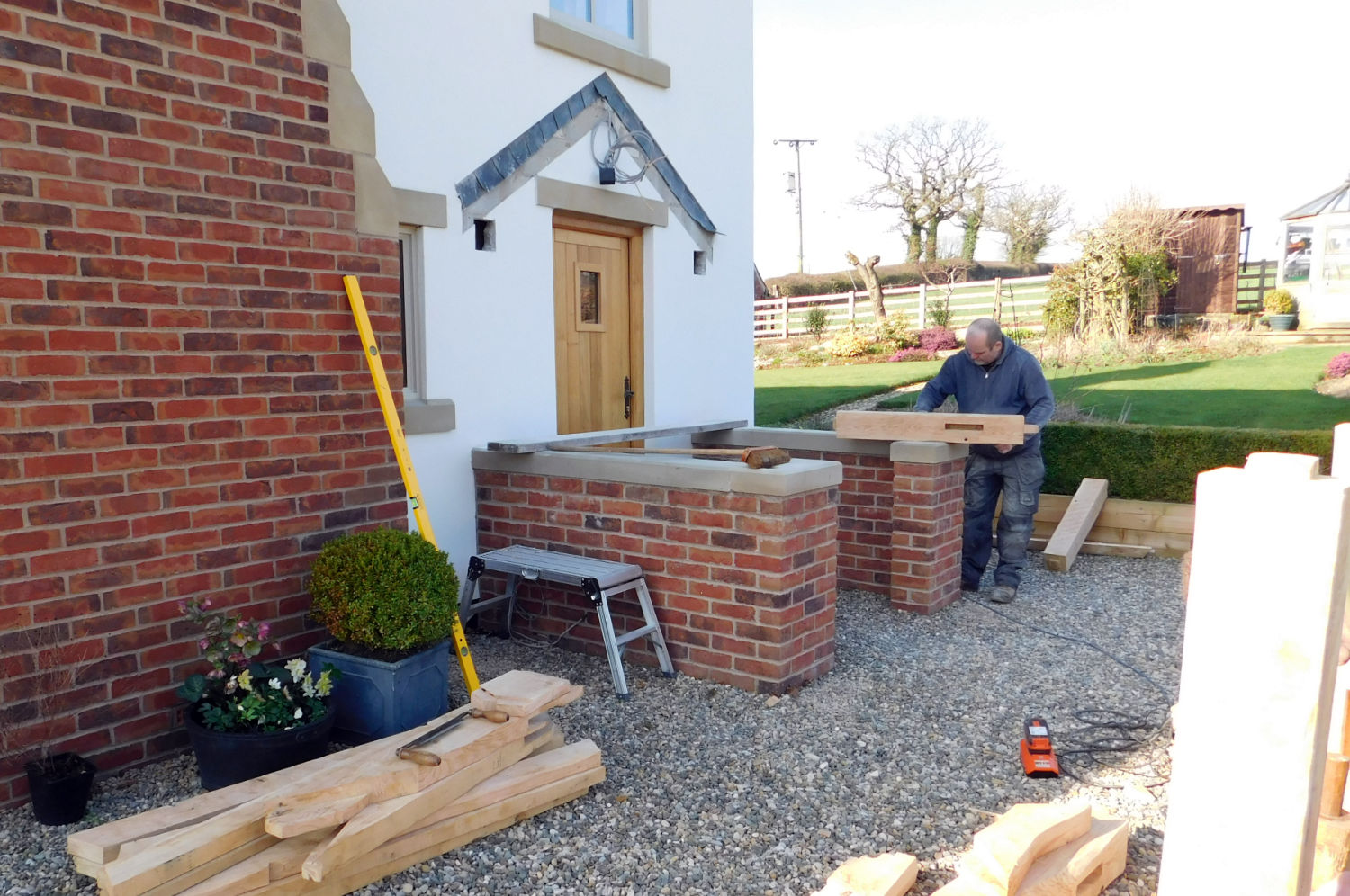 Oak Porch, slate roof, traditional wooden frame, brick and stone work, home improvement, Preston, Lancs, NW