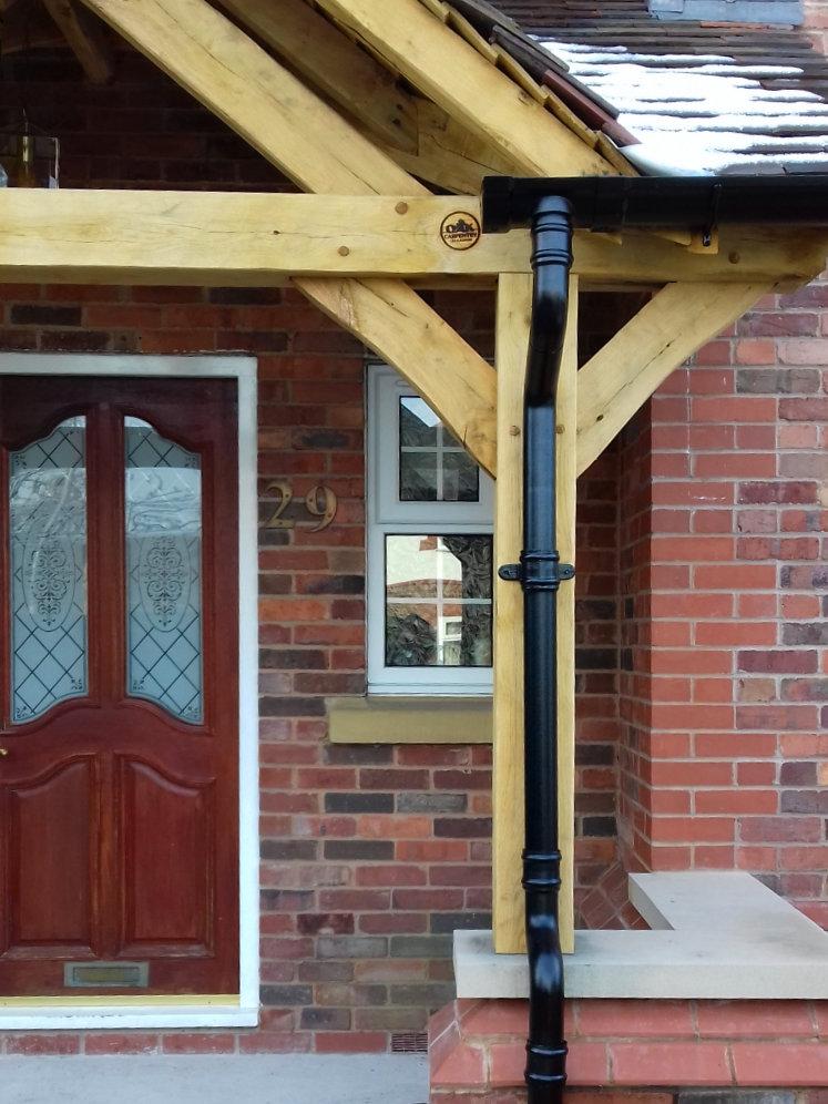 Oak Frame Porch Recessed Doorway Feature Truss Pediment
