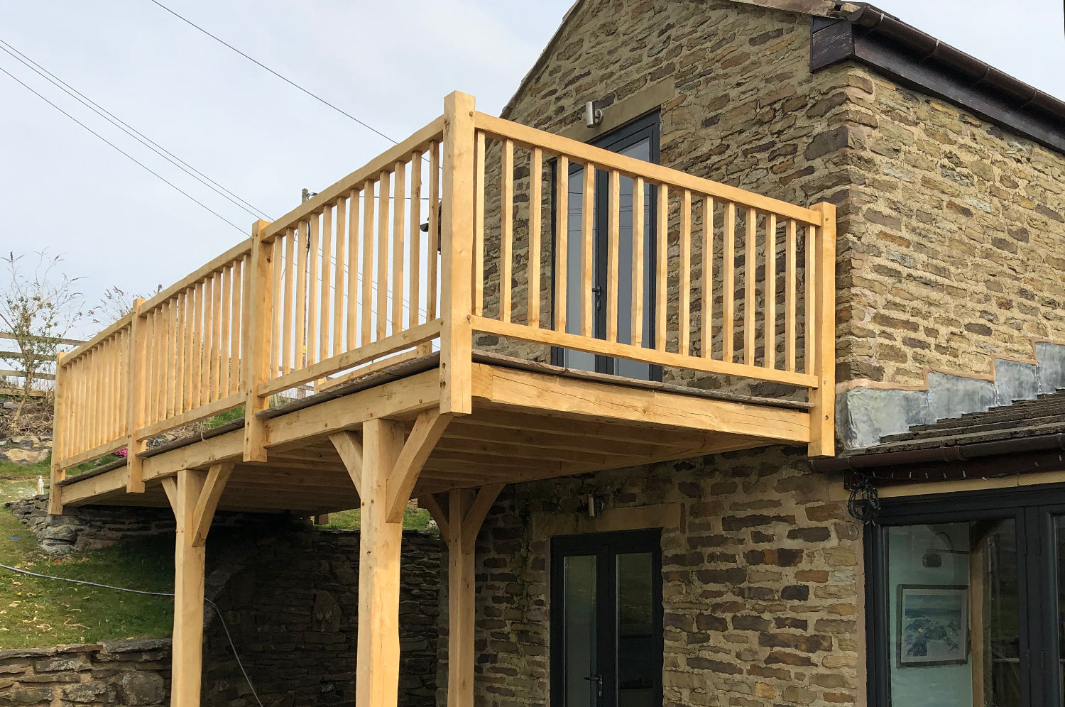 oak frame balcony, hand crafted, bespoke design, upstairs, outside garden access, farmhouse, Rawtenstall
