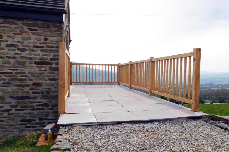 oak frame balcony, hand crafted, bespoke design, upstairs, outside garden access, farmhouse, Rawtenstall