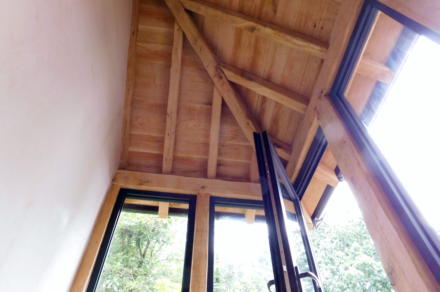 Enclosed Porch, oak frame, brick dwarf wall, hipped roof, aluminium windows, Leigh, Wigan, Oak Carpentry, Lancs, North West