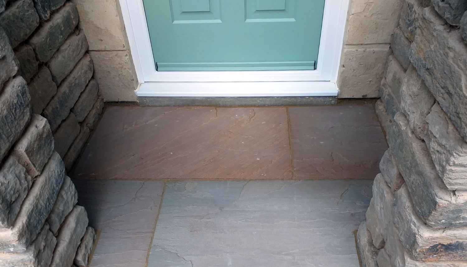 Floor paving detail, Porch with traditional Oak Frame, stone work, pitched roof complete with rain gutters