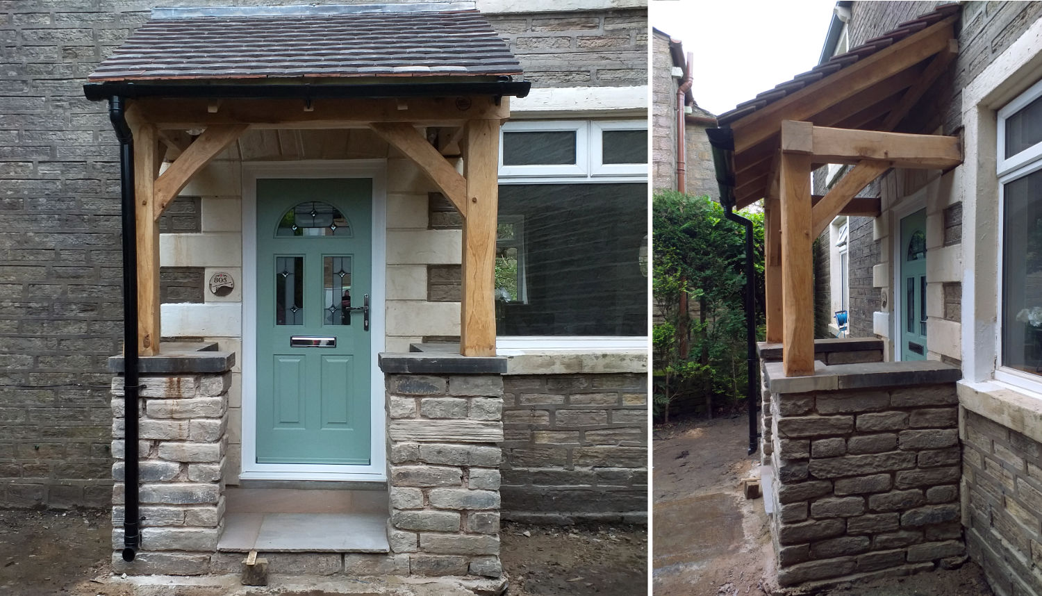 storm-porch-oak-framed-stone-work-pitched-roof-guttering-oak-carpentry-lancs-2019