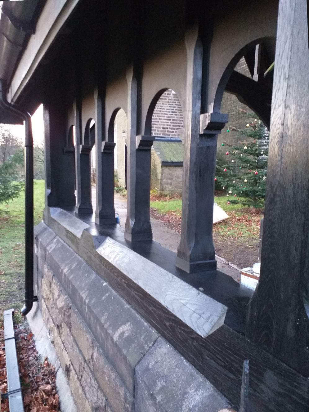 Lychgate refurbishment, Edenfield Church, repairs, replacement, guttering system, Rossendale, Lancashire