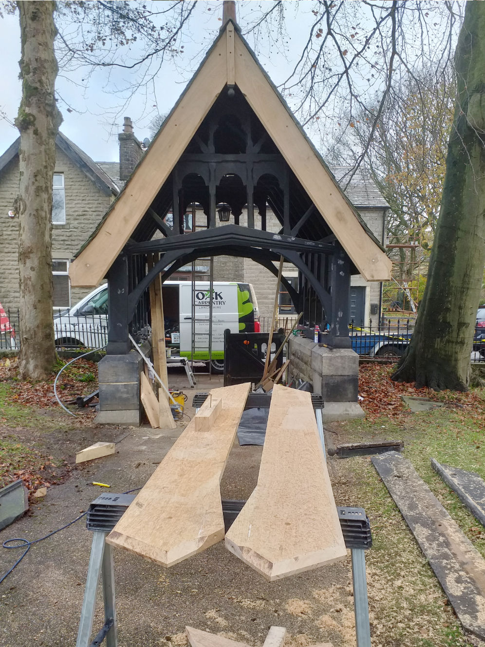 Lychgate refurbishment, Edenfield Church, repairs, replacement barge boards, Rossendale, Lancs