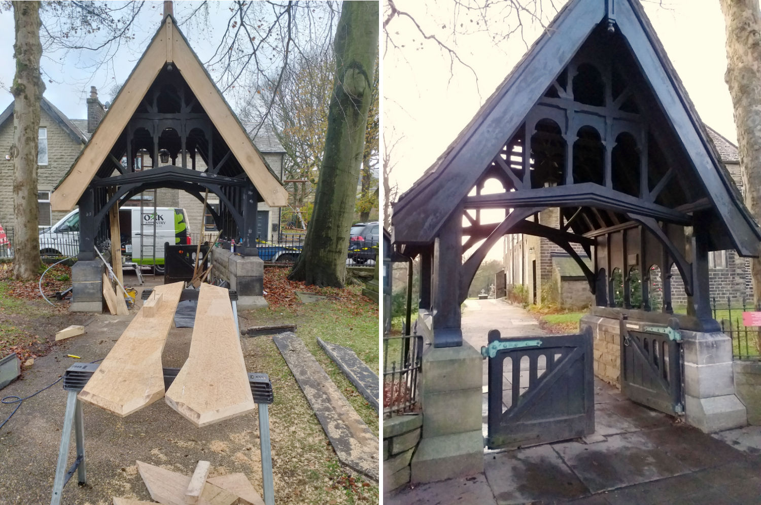 lychgate, refurbishment, replacement, barge boards, repairs, aluminium gutters, edenfield, church, lancs