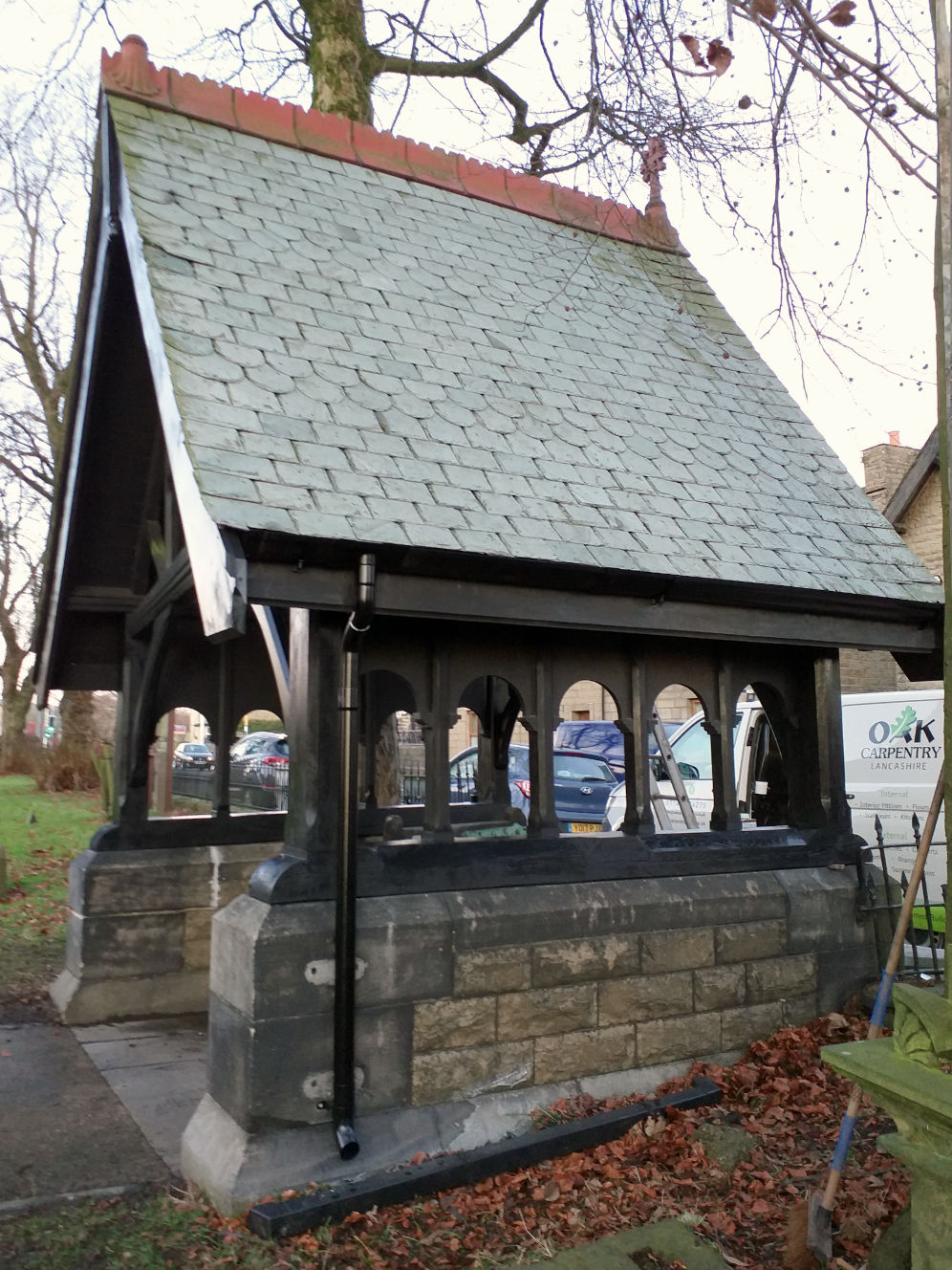 Lychgate refurbishment, Edenfield Church, structural repairs, new Aluminium gutters, Rossendale, Lancashire