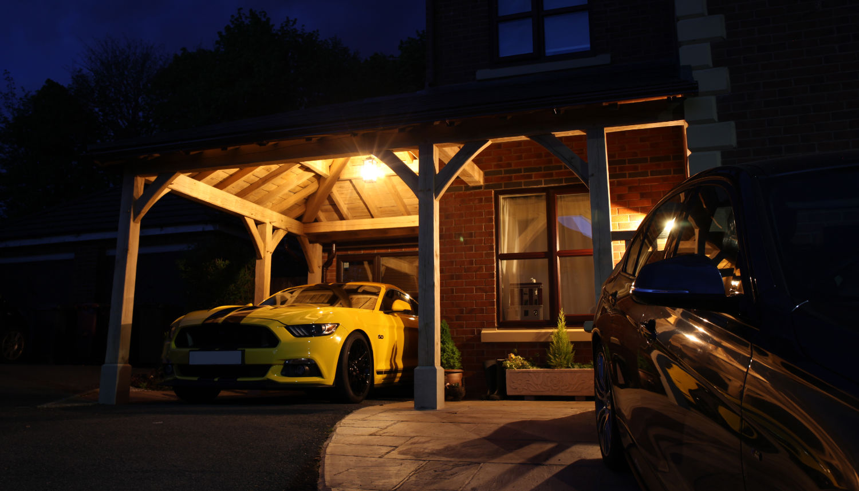 carport, oak framed, car, night lighting, Darwen, Lancs, 2020