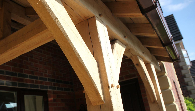 carport, oak frame design detail, hipped end, on staddle stones with lead hip rolls, Darwen, Lancashire, 2020