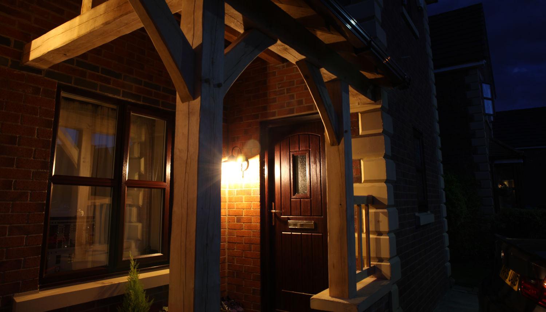 carport, oak framed, porch, front door, night lighting, Darwen, Lancs, 2020