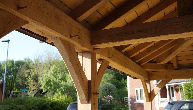 carport, oak frame roof detail, Darwen, Lancs, 2020