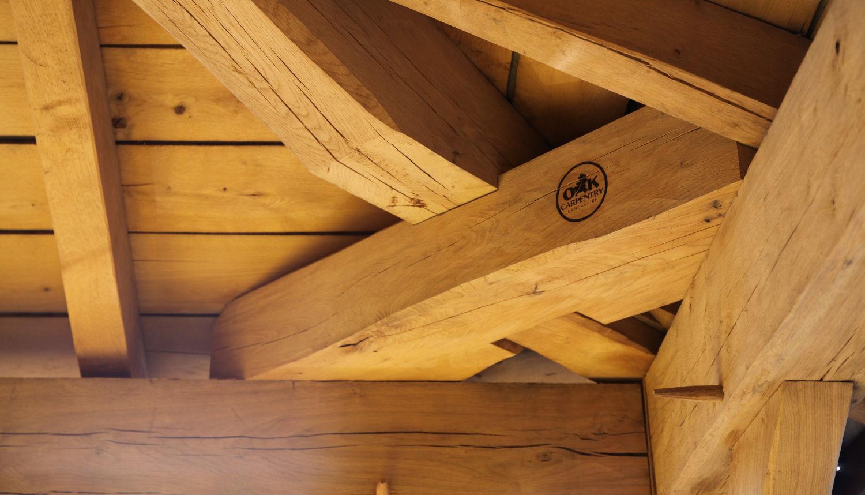 carport, oak frame roof construction detail, Darwen, Lancs, 2020