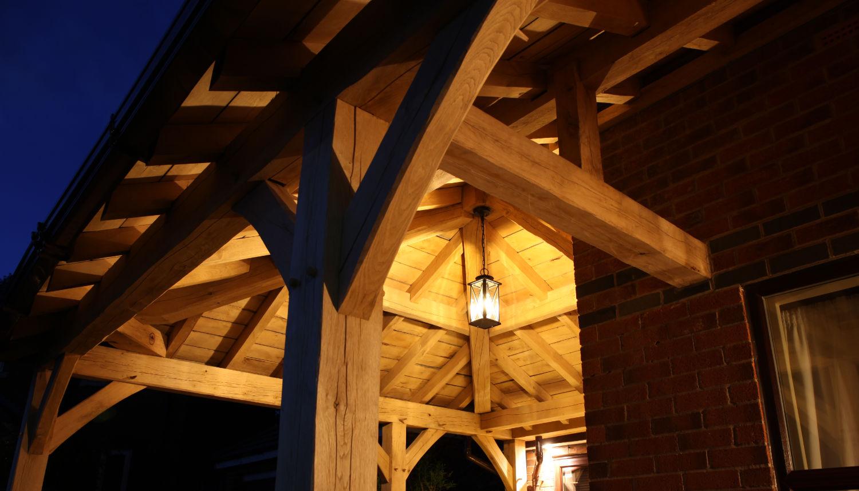 carport, oak framed, lighting, night, Darwen, Lancs, 2020