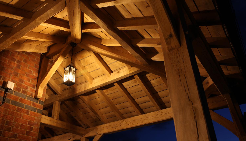 carport, oak framed, light, night, security, Darwen, Lancs, 2020