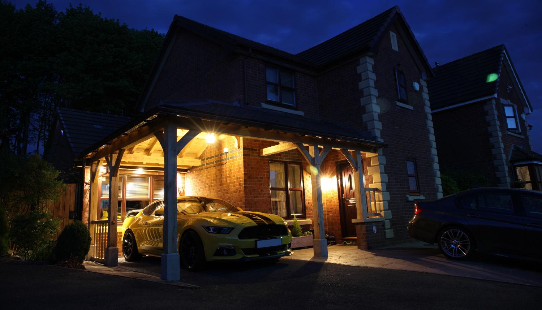 carport, oak framed, car, night, lighting, security, Darwen, Lancs, 2020