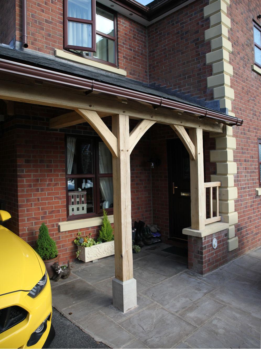 carport, oak framed, hipped end, on staddle stones with lead hip rolls, Darwen, Lancashire, 2020
