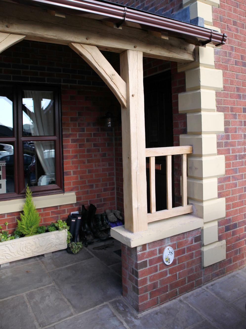 carport, porch, front door, oak frame construction, Darwen, Lancashire, 2020