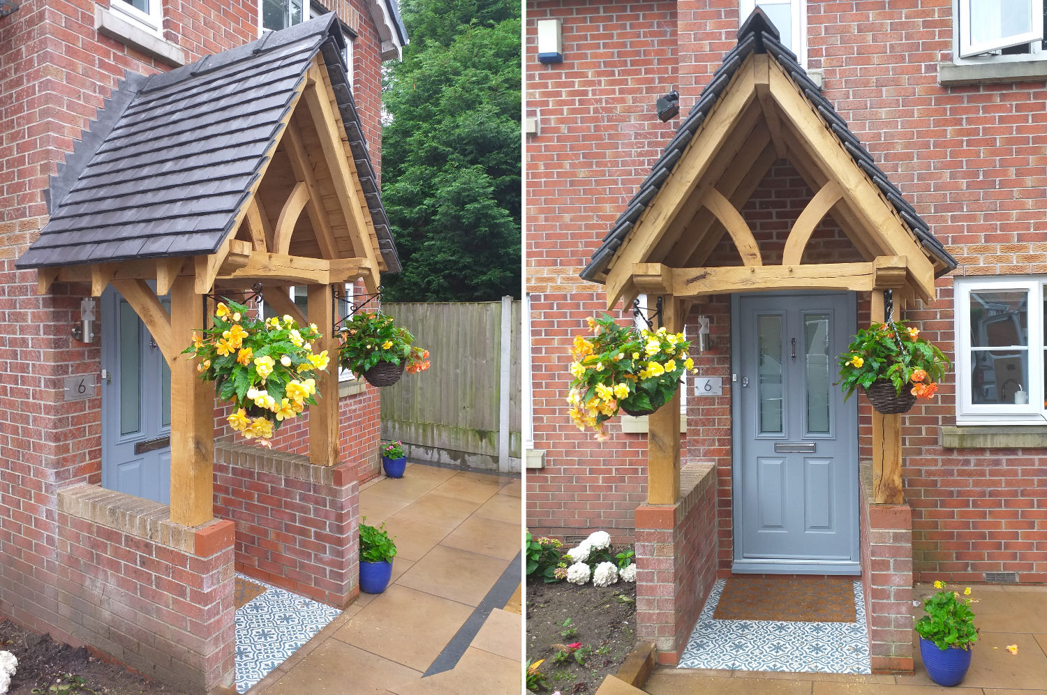 Oak Framed Porch, curved head queen post, brickwork, Prestwich, Manchester